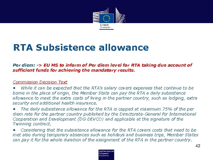 RTA Subsistence allowance Per diem: -> EU MS to inform of Per diem level
