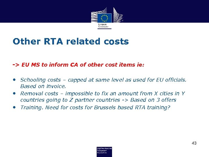 Other RTA related costs -> EU MS to inform CA of other cost items