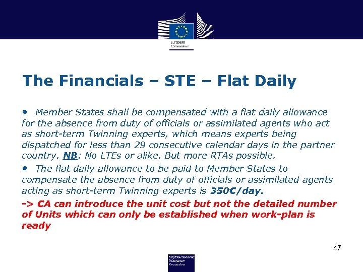 The Financials – STE – Flat Daily • Member States shall be compensated with