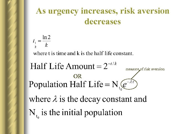 As urgency increases, risk aversion decreases measure of risk aversion OR