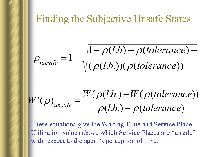 Finding the Subjective Unsafe States These equations give the Waiting Time and Service Place
