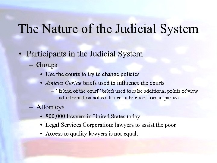 The Nature of the Judicial System • Participants in the Judicial System – Groups