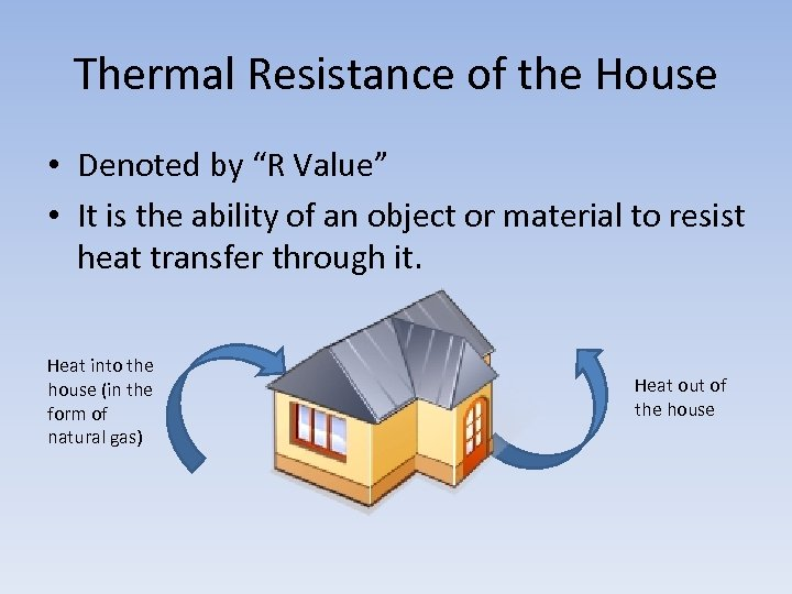 """Thermal Resistance of the House • Denoted by """"R Value"""" • It is the"""