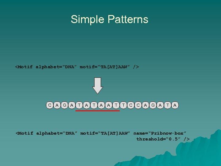 """Simple Patterns <Motif alphabet=""""DNA"""" motif=""""TA[AT]AAW"""" /> C A G A T A A T"""