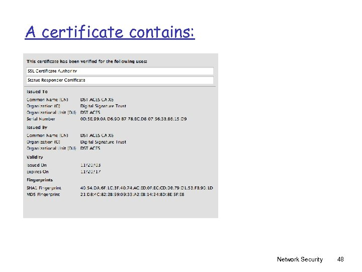 A certificate contains: Network Security 48