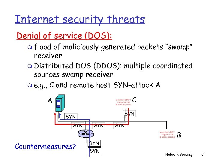 """Internet security threats Denial of service (DOS): m flood of maliciously generated packets """"swamp"""""""