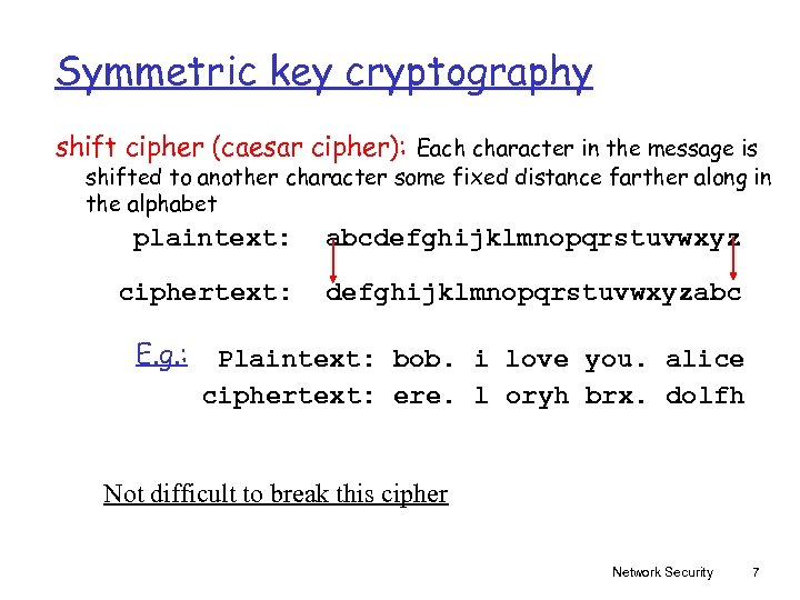 Symmetric key cryptography shift cipher (caesar cipher): Each character in the message is shifted