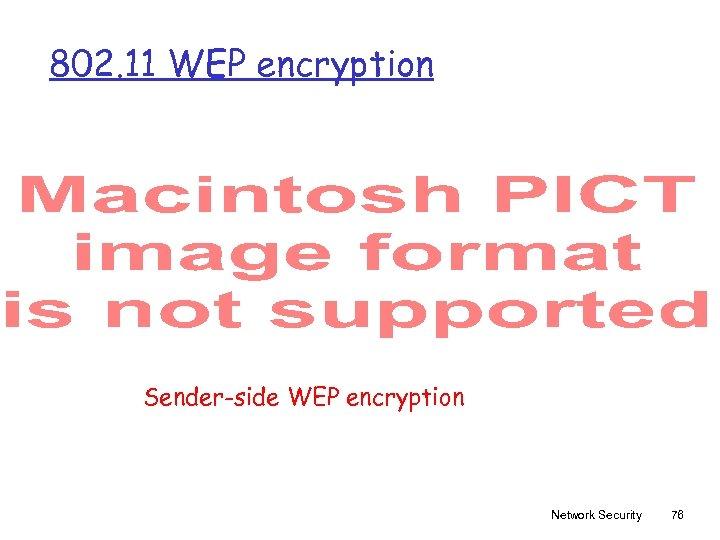 802. 11 WEP encryption Sender-side WEP encryption Network Security 76