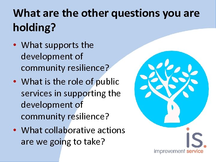 What are the other questions you are holding? • What supports the development of