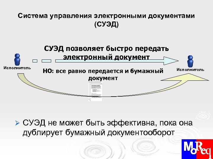 Система управления электронными документами (СУЭД) СУЭД позволяет быстро передать электронный документ Исполнитель Ø НО: