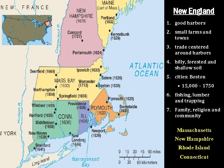 New England 1. good harbors 2. small farms and towns 3. trade centered around