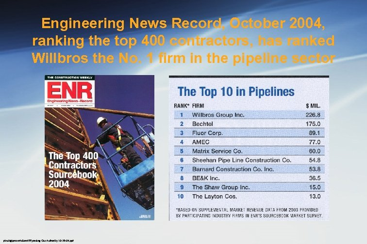 Engineering News Record, October 2004, ranking the top 400 contractors, has ranked Willbros the