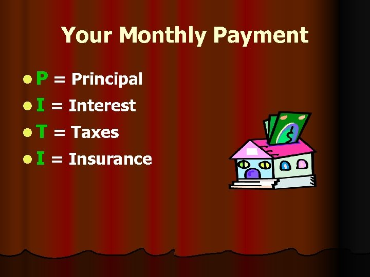 Your Monthly Payment l P = Principal l I = Interest l T =