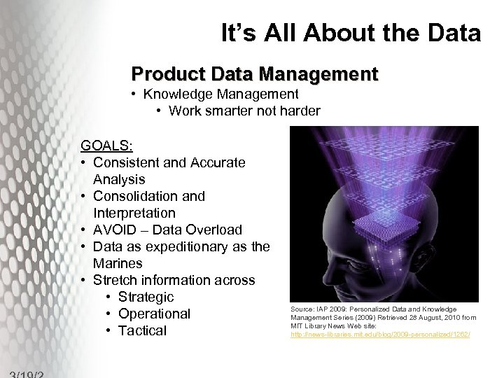 It's All About the Data Product Data Management • Knowledge Management • Work smarter