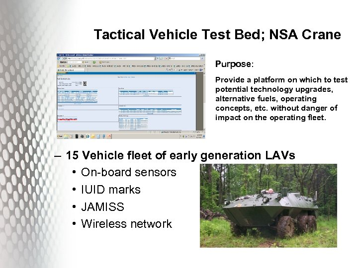 Tactical Vehicle Test Bed; NSA Crane Purpose: Provide a platform on which to test