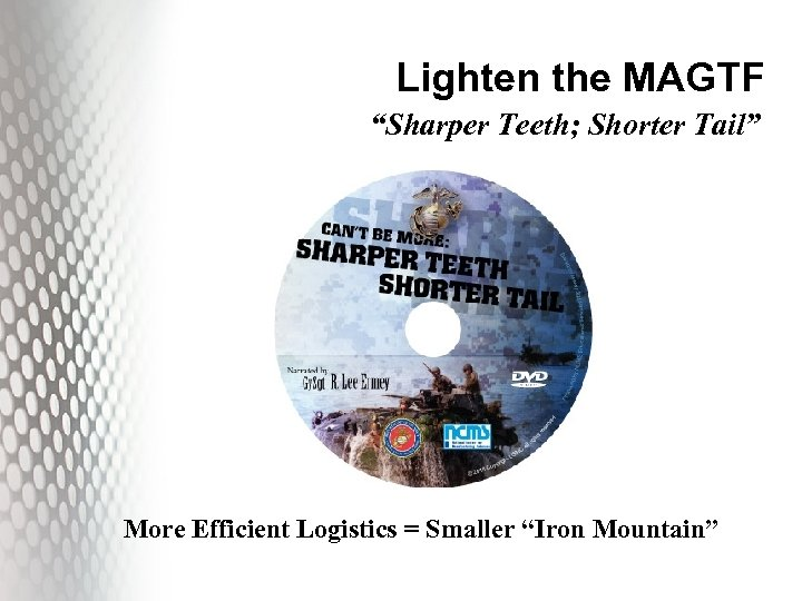 "Lighten the MAGTF ""Sharper Teeth; Shorter Tail"" More Efficient Logistics = Smaller ""Iron Mountain"""