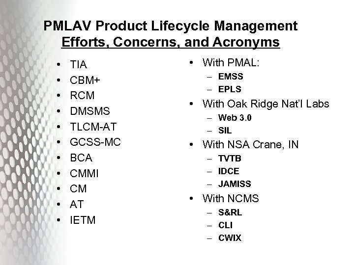 PMLAV Product Lifecycle Management Efforts, Concerns, and Acronyms • • • TIA CBM+ RCM