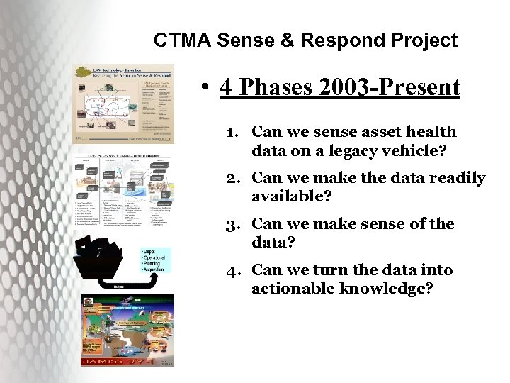 CTMA Sense & Respond Project • 4 Phases 2003 -Present 1. Can we sense