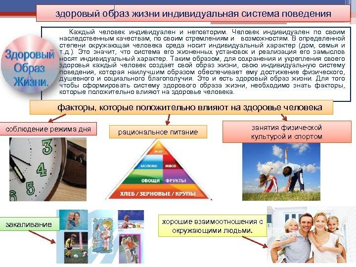 здоровый образ жизни индивидуальная система поведения Каждый человек индивидуален и неповторим. Человек индивидуален по