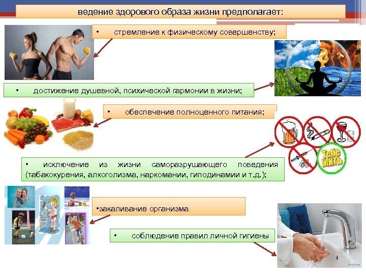 ведение здорового образа жизни предполагает: • • стремление к физическому совершенству; достижение душевной, психической