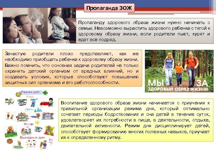 Пропаганда ЗОЖ Пропаганду здорового образа жизни нужно начинать с семьи. Невозможно вырастить здорового ребенка
