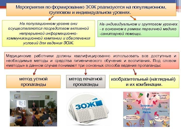 Мероприятия по формированию ЗОЖ реализуются на популяционном, групповом и индивидуальном уровнях. На популяционном уровне
