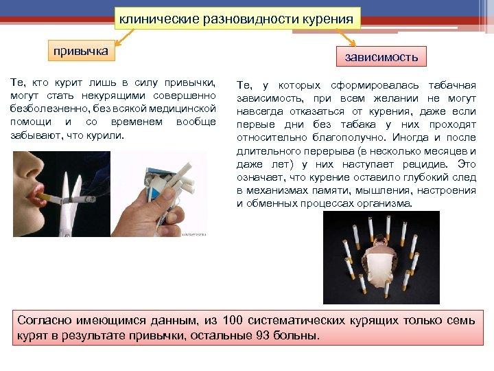 клинические разновидности курения привычка Те, кто курит лишь в силу привычки, могут стать некурящими