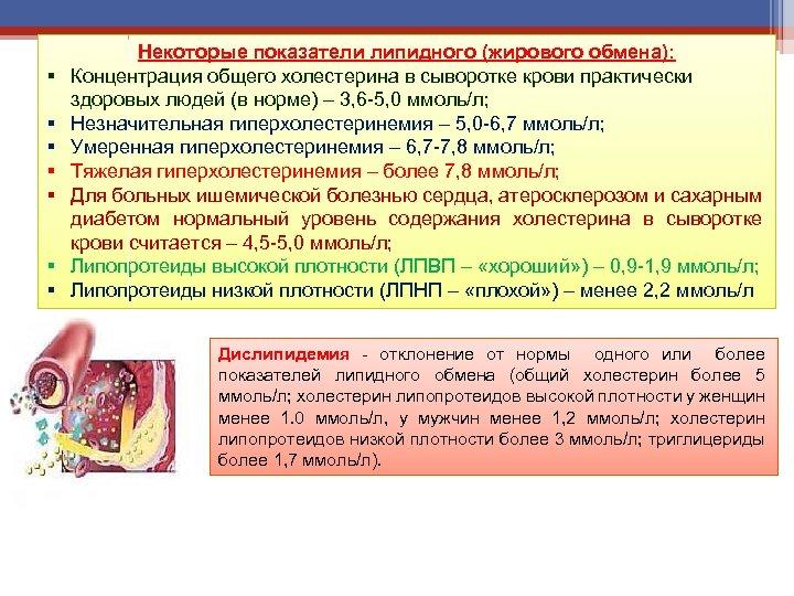 § § § § Некоторые показатели липидного (жирового обмена): Концентрация общего холестерина в сыворотке