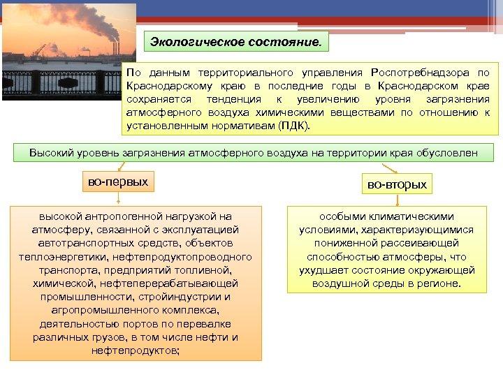 Экологическое состояние. По данным территориального управления Роспотребнадзора по Краснодарскому краю в последние годы в