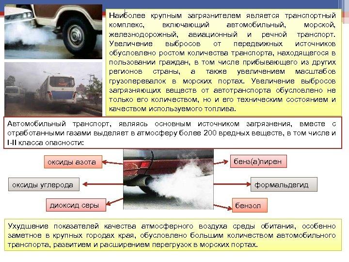 Наиболее крупным загрязнителем является транспортный комплекс, включающий автомобильный, морской, железнодорожный, авиационный и речной транспорт.