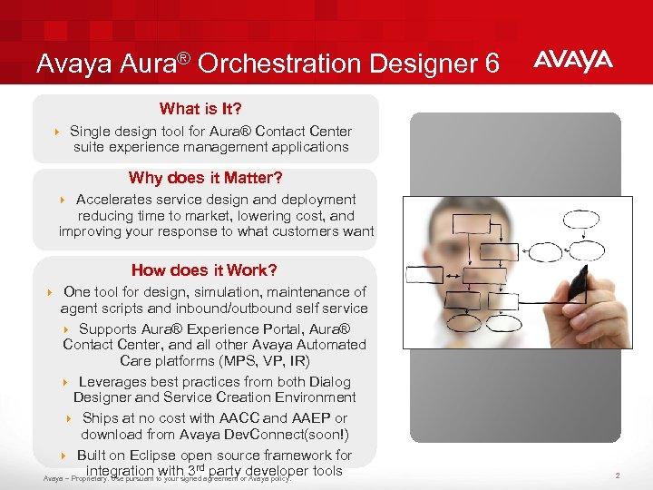 Avaya Aura® Orchestration Designer 6 What is It? 4 Single design tool for Aura®