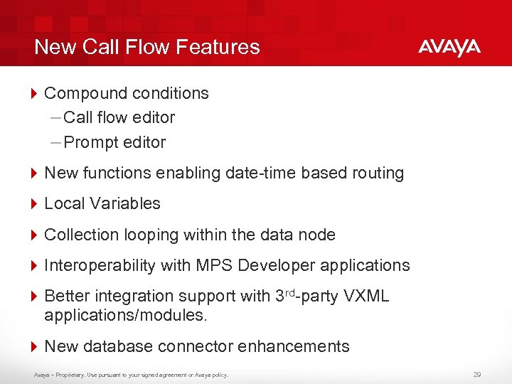 New Call Flow Features 4 Compound conditions – Call flow editor – Prompt editor