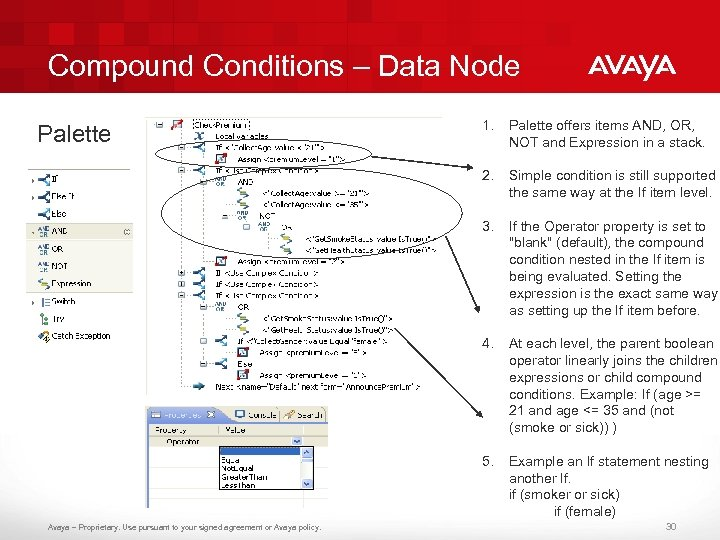 Compound Conditions – Data Node Palette offers items AND, OR, NOT and Expression in