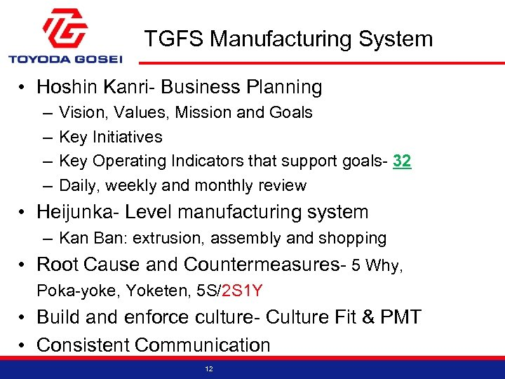 TGFS Manufacturing System • Hoshin Kanri- Business Planning – – Vision, Values, Mission and