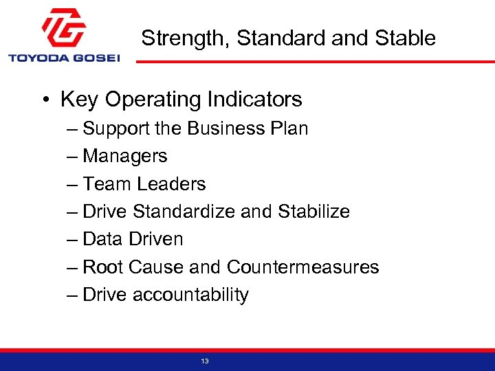 Strength, Standard and Stable • Key Operating Indicators – Support the Business Plan –