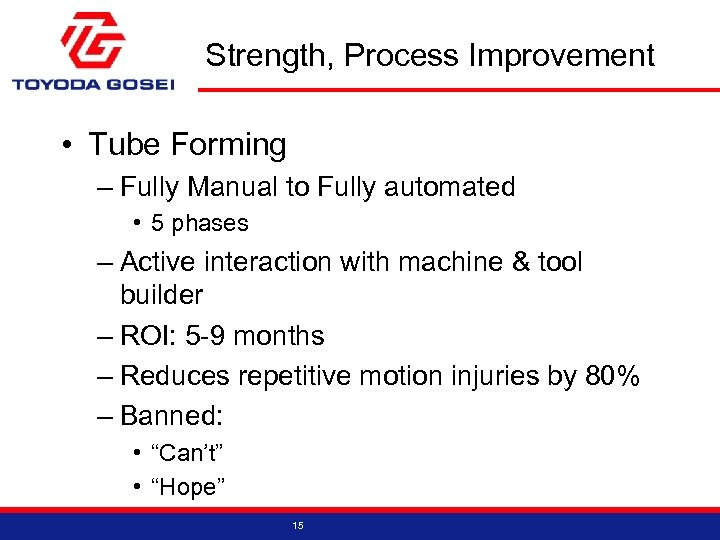 Strength, Process Improvement • Tube Forming – Fully Manual to Fully automated • 5
