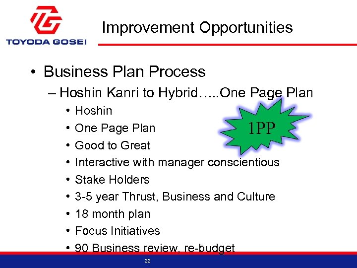 Improvement Opportunities • Business Plan Process – Hoshin Kanri to Hybrid…. . One Page