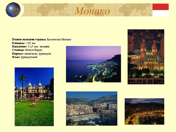 Монако Полное название страны: Княжество Монако Площадь: 1, 95 км Население: 31, 9 тыс.