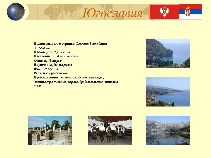Югославия Полное название страны: Союзная Республика Югославия Площадь: 102, 2 тыс. км Население: 10,