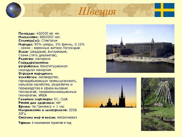 Швеция Площадь: 450000 кв. км. Население: 8850000 чел. Столица(ы): Стокгольм Народы: 90% шведы, 3%