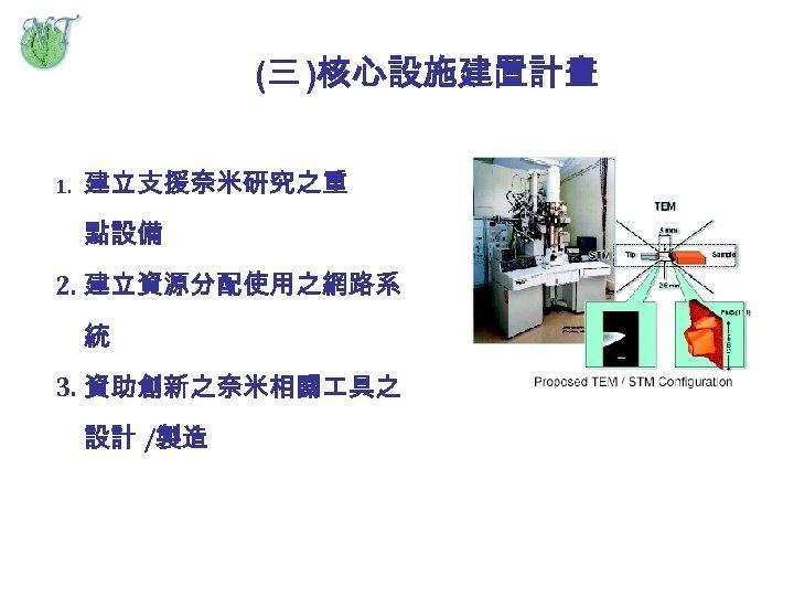 (三 )核心設施建置計畫 1. 建立支援奈米研究之重 點設備 2. 建立資源分配使用之網路系 統 3. 資助創新之奈米相關 具之 設計 /製造