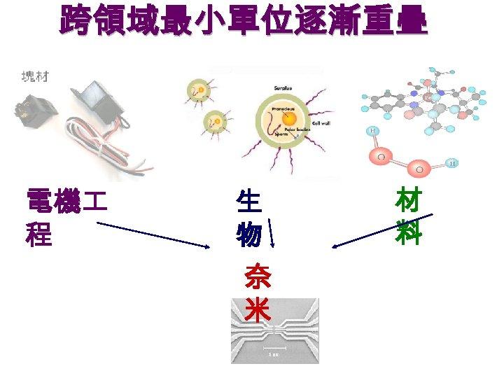 跨領域最小單位逐漸重疊 電機 程 生 物 奈 米 材 料