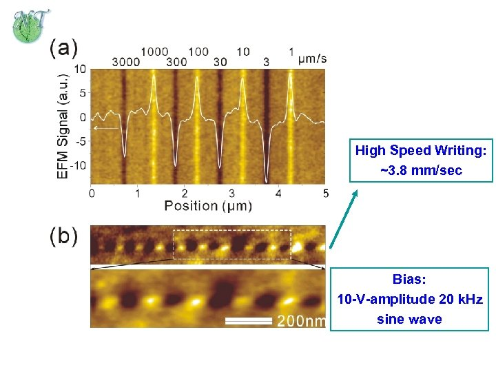 High Speed Writing: ~3. 8 mm/sec Bias: 10 -V-amplitude 20 k. Hz sine wave