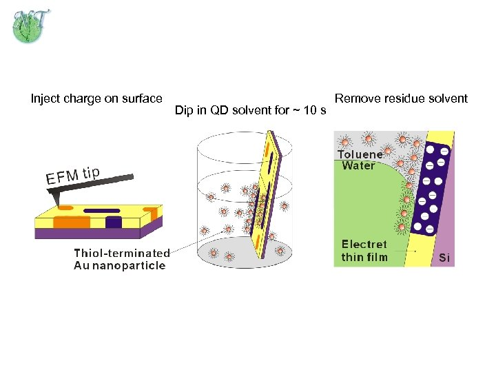 Inject charge on surface Dip in QD solvent for ~ 10 s Remove residue
