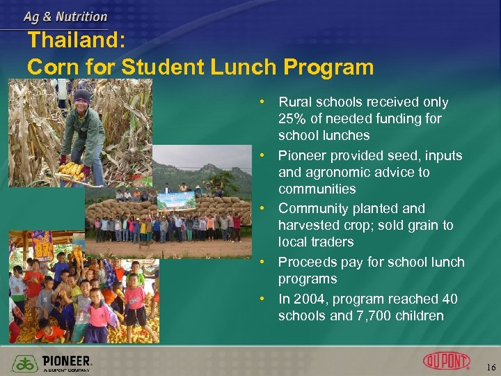 Thailand: Corn for Student Lunch Program • Rural schools received only 25% of needed