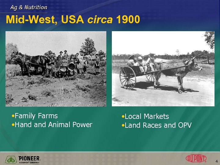 Mid-West, USA circa 1900 • Family Farms • Hand Animal Power • Local Markets