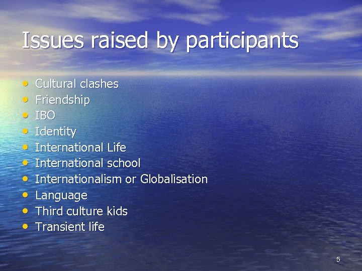 Issues raised by participants • • • Cultural clashes Friendship IBO Identity International Life