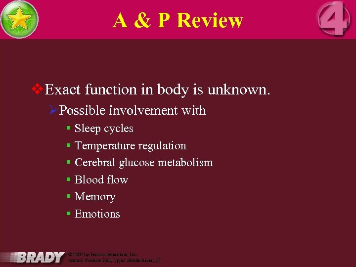 A & P Review v. Exact function in body is unknown. ØPossible involvement with