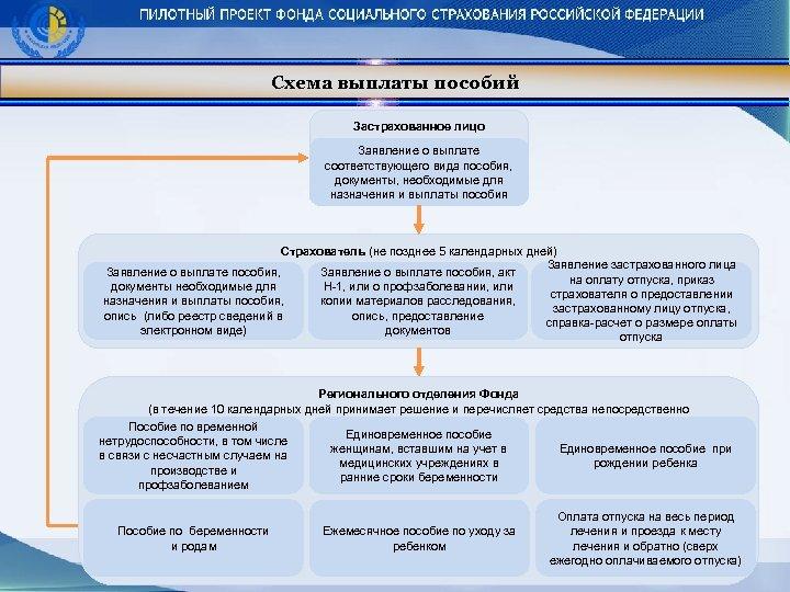 Схема выплаты пособий Застрахованное лицо Заявление о выплате соответствующего вида пособия, документы, необходимые для