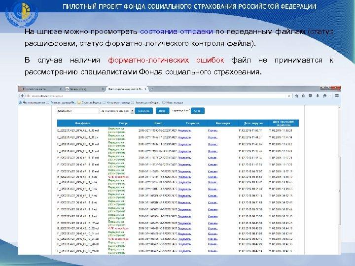 На шлюзе можно просмотреть состояние отправки по переданным файлам (статус расшифровки, статус форматно-логического контроля